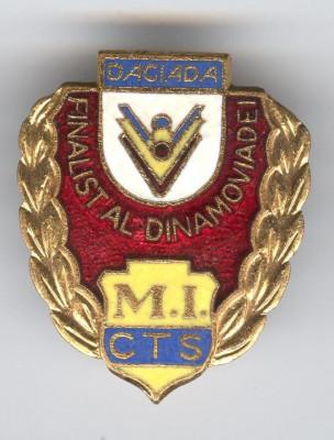 MINISTERUL  de INTERNE - FINALIST al DINAMOVIADEI - DACIADA Insigna 1970 Rara foto
