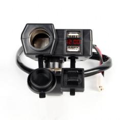 Priza USB x 2, bricheta x 1 + Voltmetru moto, waterproof, led rosu