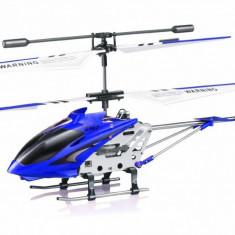 Jucarie Mini Drona Elicopter din Metal Syma S107G cu Telecomanda si Iluminare LED, Albastru FlyMania - Elicopter de jucarie