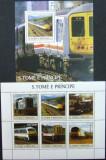 S TOME E PRINCIPE - TRENURI, AUTOMOTOARE, 2003, 1M/SH+1S/S,  NEOB. - STP 102, Transporturi