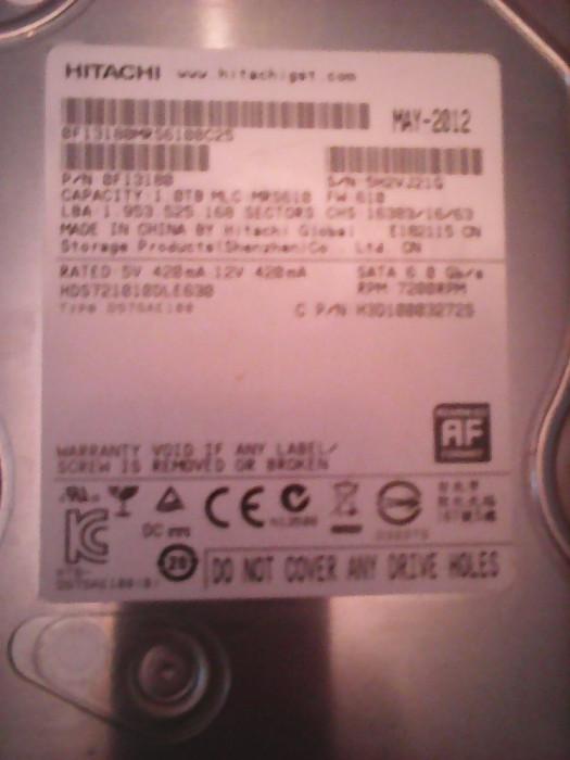 Hard-disk PC 1 TB Hitachi 1614 zile utilizare 100% health P162