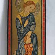 Icoana inger arhanghel cu prun, print si lemn, 24x11 cm