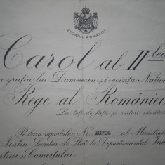 Brevet 1934 Medalia Meritul Comercial si Industrial cl II