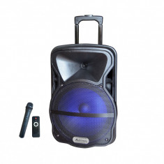 Boxa portabila cu telecomanda si microfon wireless, acumulator, bluetooth, radio, usb