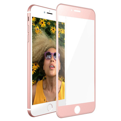 Folie de sticla 3D full screen iPhone 7 Plus Roz foto