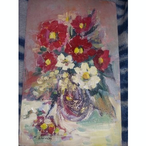 Tablou vechi fara rama,pictura vintage Semnata,Transport GRATUIT