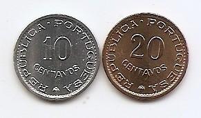 Sao Tome & Principe Set 2 - 10, 20 Centavos 1971 - KM-15a, 16.2 UNC !!! foto