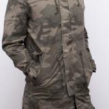 Geaca Army lunga - geaca barbati geaca slim fit geaca camuflaj cod 172, L, XL, XXL, Din imagine