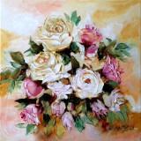 Pictura, tablou cu trandafiri, pictura originala ELENA BISSINGER 2018 #559, Flori, Ulei, Realism