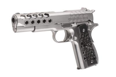 Replica M1911 Hex Cut Silver WE GBB arma airsoft pusca pistol aer comprimat sniper shotgun foto