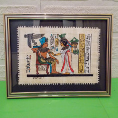 Mic PAPIRUS AUTENTIC, pictat manual, CERTIFICAT, inramat, Egipt - Arta din Africa