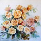 Pictura, tablou cu trandafiri, pictura originala ELENA BISSINGER 2018 #560, Flori, Ulei, Realism