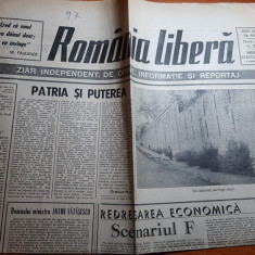 """ziarul romania libera 22 august 1990-art. """"patria si puterea"""" de octavian paler"""