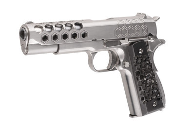 Replica M1911 Hex Cut Silver WE GBB - Resigilat foto