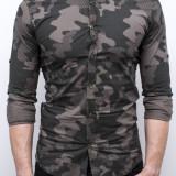 Camasa army barbati - camasa slim fit camasa verde camasa barbat cod 170, S, XL, Maneca lunga, Din imagine
