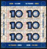 Romania 2009, LP 1825 a, 10 ani EURO, minicoala cu folio aur, MNH! LP 25,20 lei, Istorie, Nestampilat