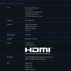 Nitro+ Radeon RX Vega 56 Sapphire 8GB HMB2 - Placa video PC