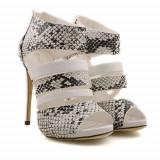 Sandale cu toc Kara albe