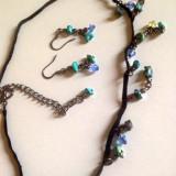 Set bijuterii CATIFEA (colier+ cercei)-  lantior pietre semipretioase