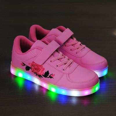 Adidasi cu Leduri roz pentru copii foto