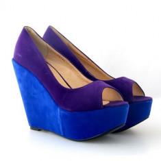 Pantofi cu platforma Loly albastri - Pantof dama, Marime: 37, 39