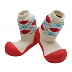 Attipas Argyle cu ciorăpel gros, roșii - Pantofi copii Attipas, Culoare: Rosu, Marime: 20, 21.5, 22.5, Unisex, Textil