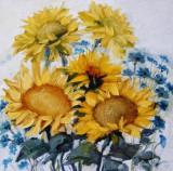 Pictura, tablou cu Floarea-soarelui, pictura originala ELENA BISSINGER 2012 #595, Flori, Ulei, Realism