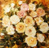 Pictura, tablou cu trandafiri, pictura originala ELENA BISSINGER 2016 60x60 #592, Flori, Ulei, Realism