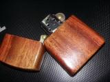 Bricheta vintage tip ZIPPO imbracata in lemn,bricheta incarcata functionala,T.GR