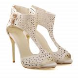 Sandale cu toc Elegance albe