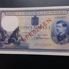 BANCNOTE ROMANESTI SPECIMEN 1940 UNC - Bancnota romaneasca