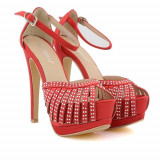 Sandale cu toc Luisa rosii, 39