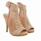 Sandale cu toc Pretty Girl bej, 36, 39, Piele sintetica
