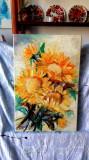 Pictura, tablou cu floarea-soarelui, pictura originala ELENA BISSINGER 2017 #579, Flori, Ulei, Realism