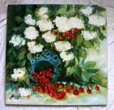 Pictura, tablou cu cirese si flori, pictura originala ELENA BISSINGER 2017 #582, Ulei, Realism