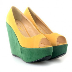 Pantofi cu platforma Loly galbeni / verzi - Pantof dama, Marime: 36, 37, 38, 39
