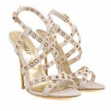 Sandale cu toc Lara albe