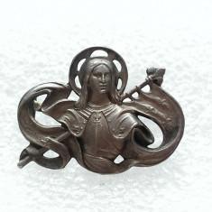 ART NOUVEAU-BROSA VECHE DIN ARGINT-FRANTA-IOANA D'ARC - Brosa argint