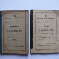 2 X Carnet de asigurare 1941-1944, 1942-1945 pe acelasi nume, Romania 1900 - 1950