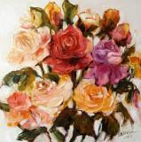 Pictura, tablou cu trandafiri, pictura originala ELENA BISSINGER 2016 #590, Flori, Ulei, Realism