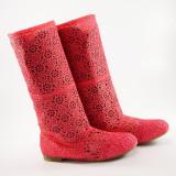 Cizme de vara crosetate Ivona corai / roz, 39, Textil