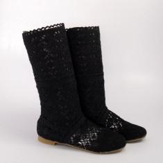 Cizme de vara crosetate Pretty Girl negre, 35 - 39, Negru, Textil