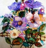 Pictura, tablou cu flori, pictura originala ELENA BISSINGER 2017, 50x50 cm #580, Ulei, Realism