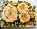 Pictura,tablou cu trandafiri,pictura originala ELENA BISSINGER 2016, 80x60cm#588, Flori, Ulei, Realism