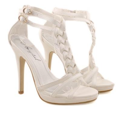 Sandale cu toc Karina albe foto