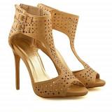Sandale cu toc Elegance bej