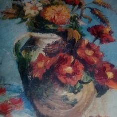 Tablou vechi pictat pe panza fara rama,pictura veche PICTATA pe panza,Tp.GRATUIT, Flori, Ulei, Realism