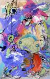 Pictura, tablou abstract, pictura originala ELENA BISSINGER 2017, 70x45cm #583, Ulei