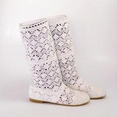 Cizme de vara crosetate Pretty Girl albe, 36 - 40, Alb, Textil