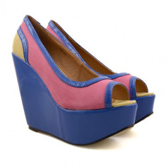 Pantofi cu platforma Loly fuchsia / bleu / ocru - Pantof dama, Marime: 38, 39